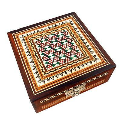 Vintage Middle East Wood Inlay Box Intricate Design Great Condition Presentation