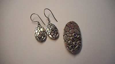 Sterling Silver 925 Pendant and Earrings with purple stones