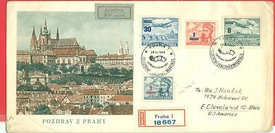 Czechoslovakia CSR Re-valued 4 diff Air Mail on Registered FDC Cover to USA 1949