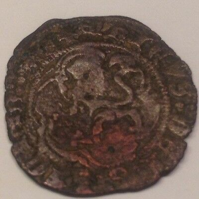 Spain-King Henry medieval coin with Lion and Castle Metal detector find D6