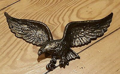 "Vintage Brass Eagle wall hanging Bird Figure 9"" Wingspan"