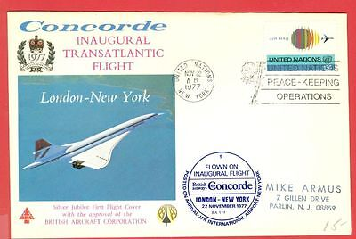 UK GB CONCORDE London New York Inaugural Transatlantic Flight cover 1977