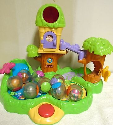 Fisher  Price  Jungle  Friends  Roll  A  Round  Treehouse  &  8  Balls