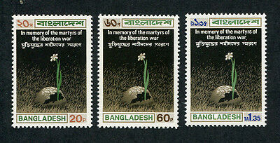 BANGLADESH 1973 Memory of the Martyrs, SET OF 3, MINT Never Hinged