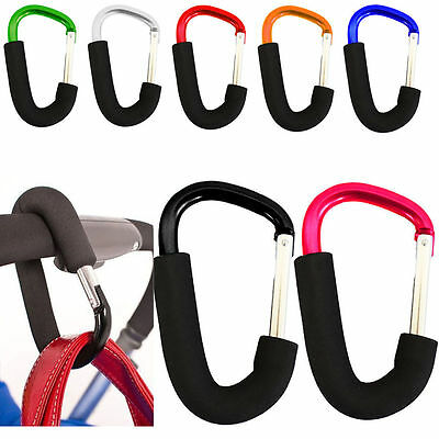 2x Large Buggy Mummy Clip Pram Pushchair Shopping Bag Hook Carabiner Tool