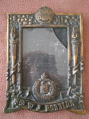 WW1 LORD STRATHCONA'S HORSE PATRIOTIC PICTURE FRAME to Trooper ROBBINS