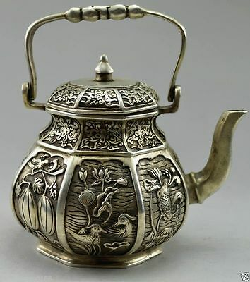 Collectible Old Decorated Handwork Tibet Silver Carved Fish Fruit Flower Tea Pot