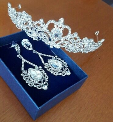 Tiaras and Earrings Silver Crown Crystal Set Formal Evening Bridal Style Fashion