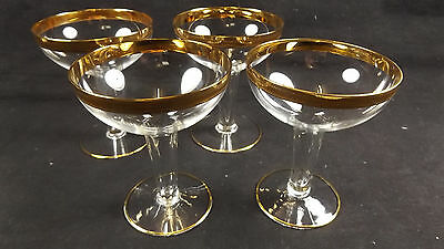 4 x Vintage Lead Crystal 24K Gold Hollow Stem Champagne Glasses Special Occasion