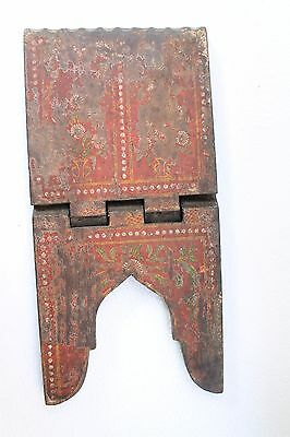 Antique Old Hand Painted Wooden Hindu Jain Religious Holy Book Stand NH3168