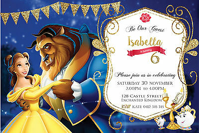 Beauty and the Beast personalised Birthday Invitation, Belle Party Invite