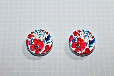 2 x Pretty Pink Flowers Wooden Laser Cut Flatback 15x15mm Cabochon Rose