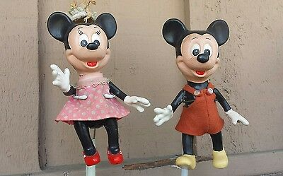 Vintage Mickey & Minnie Mouse Wooden Dolls Rare!
