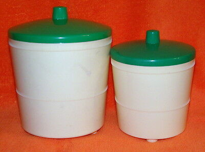 Vintage Hard Plastic Canister Pair - Cream / Green Lids - 2 Sizes - Near Perfect