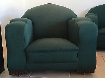 Art Deco Club Chairs c.1930s Professionally Reupholstered & Resprung. Beautiful