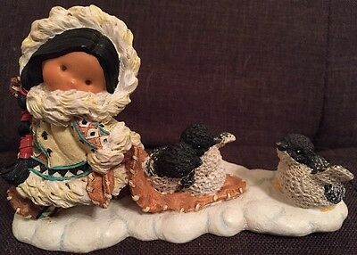 Enesco 1998 Friends Of The Feather Native American Girl With Penguins