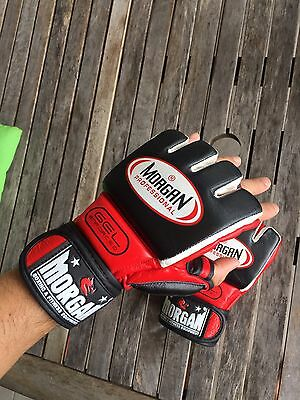 Morgan Professional Gel MMA Hybrid Leather Boxing Bag Gloves. Size M