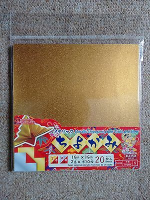 Metallic Chiyogami/Origami paper Gold/Silver & Red double-sided, 20 sheets, 15cm