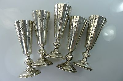 Lot Of 5 Rare 84 Antique Russian Hallmarked Small 152 Grams Silver Goblets