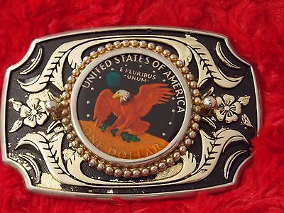 Vintage USA One Dollar coin belt Buckle - rare colored Coin