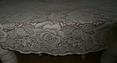 Creme Vintage Lace Tablecloth Roses Design. Gc. Vic.