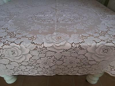 Pink Vintage Lace Tablecloth Roses. 135 X 139Cm. Vic.
