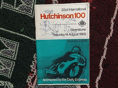 1965 SILVERSTONE PROGRAMME 14/8/65 - INTERNATIONAL HUTCHINSON 100 cover damage