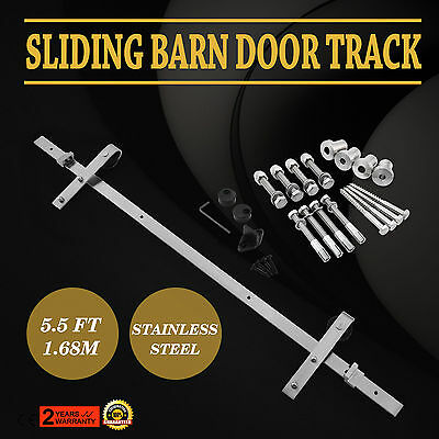 5.5 FT Country Style Sliding Barn Door Hardware Track Rail Kit w/ Rollers