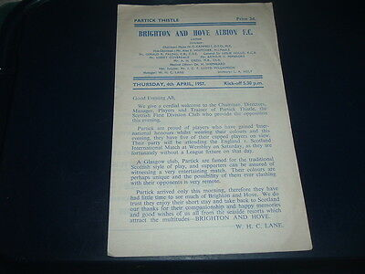 Brighton v Partick Thistle April 1957 friendly