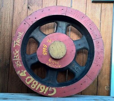 Antique Vintage Industrial Wooden Worm Gear Wheel Foundry Mould Steampunk Sign