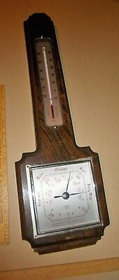 """old Barometer / Thermo' SB Smiths Britain 1930s, OAK 18"""" long x 6.5"""" - 46cm x 16"""