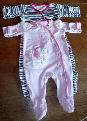 Mothercare and Disney baby girl sleepsuits 0-3 months