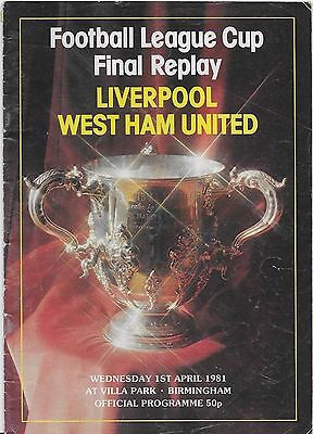 1981 League Cup Final Replay Programme-Liverpool V West Ham United At Villa Park
