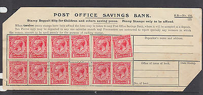 GB 1912  George V  Post Office Savings Bank sheet with 12x 1d stamps. Unusual
