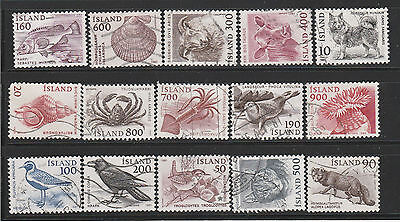 Iceland>  Lot of 15 stamps. Used.