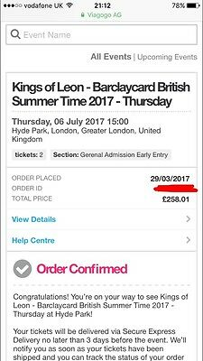 2 kings of leon tickets Hyde Park 6th of July **EARLY ENTRY TICKETS **