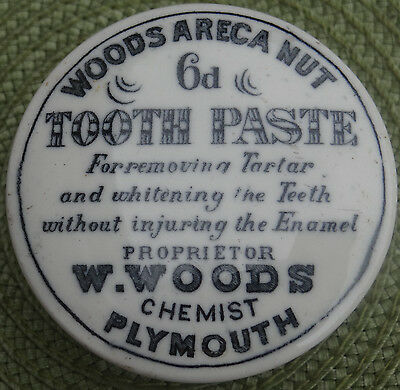 Advertising Printed Pot Lid &base.w.woods Areca Tooth Paste Chemist Plymouth.