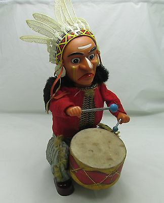 NATIVE AMERICAN INDIAN JOE DRUM TOY VINTAGE BATTERY OPERATED ALPS JAPANESE 1950s