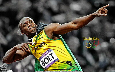 "007 Usain Bolt - 100 m Running Olympic Game Champion 22""x14"" Poster"