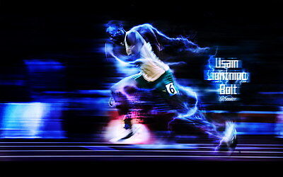 "018 Usain Bolt - 100 m Running Olympic Game Champion 22""x14"" Poster"