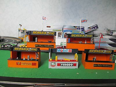 Scalextric 5x 1970s Vintage 5x track side Pit Stop Huts
