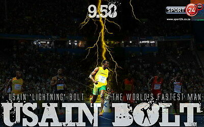 "011 Usain Bolt - 100 m Running Olympic Game Champion 38""x24"" Poster"