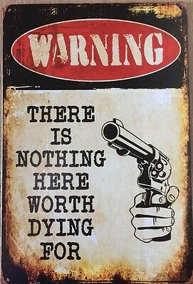 WARNING.  Garage Retro Vintage Metal Tin Sign Rustic Look .. MAN CAVE AU SELLER