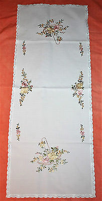 Machine Embroidered Cream Table Runner/centre Piece