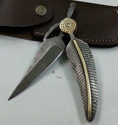 Custom made knife king's Mithril Damascus BABY BLUE KNIFE with sheath
