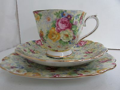 Antique Royal Albert Floral All Over Trio Cup Saucer Plate Crown Bone China