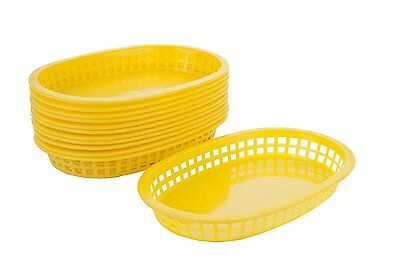 Alegacy 12-Pack Flat Bottom Oval Fast Food Baskets, Yellow