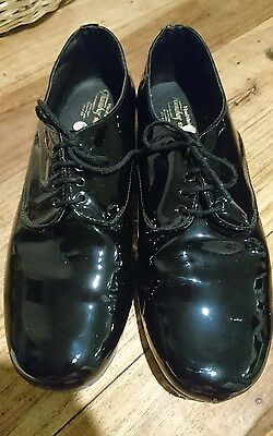 Hand-made black patent leather men's shoes, size 11