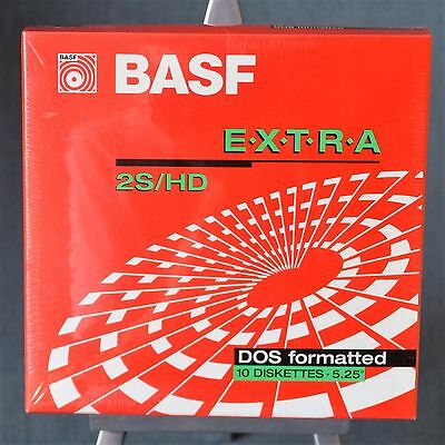 "Box with 10 BASF 2S/HD DOS format blank floppy disks .HD 3.5"" unused neu OVP"
