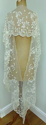 Stunning V Long Victorian Handmade Antique Lace Flounce Shawl Wedding Dress Trim